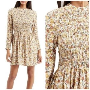 TOPSHOP Smocked Floral Long Sleeve Dress size 6